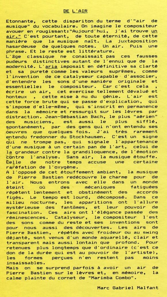 Pierre Bastien - Mecanium – De l'air